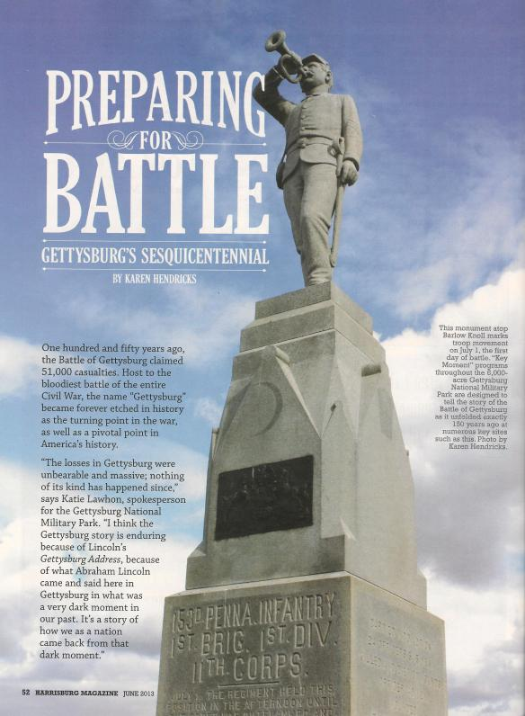 """Preparing for Battle: Gettysburg's Sesquicentennial,"" Harrisburg magazine, June 2013"