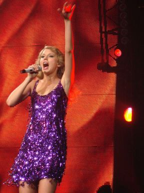"Taylor Swift, during her 2010 ""Fearless"" tour"
