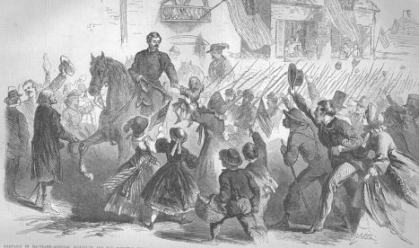 McClellan riding through Frederick, prior to the Battle of Antietam. From Frank Leslie's Illustrated Newspaper, US Army, via Wikimedia Commons