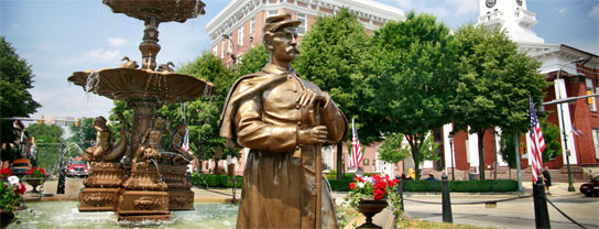 Chambersburg's fountain and bronze sentry stand as monuments to the Civil War. Credit: Franklin County Visitors Bureau