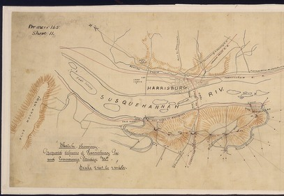 1860s era sketch showing defenses of the Susquehanna River at Harrisburg. Credit: Wikimedia Commons