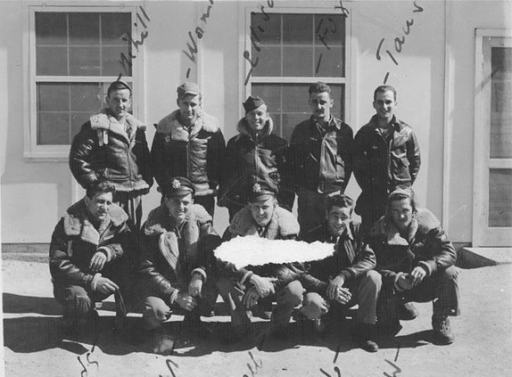 Clair Truby's Crew: The 833rd Bomb Squadron, 486th Bomb Group. Truby is in the first row, second from the right. Photo Courtesy Ralph Siegel
