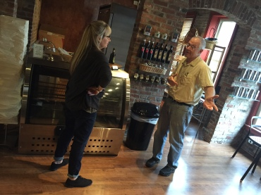 Timbrel Wallace, owner of Lark, chats with Marc Jalpert, owner of neighboring Gettysburg Baking Company