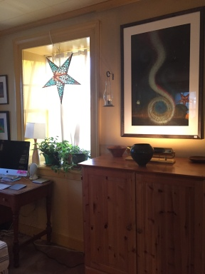 Thulin's artwork graces his home as well