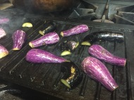 Grilling those beautiful mini-eggplants