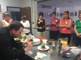 Chef Jeremy snaps a photo of our masterpiece: garden-fresh tartine
