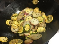 Roasting the fresh vegetables