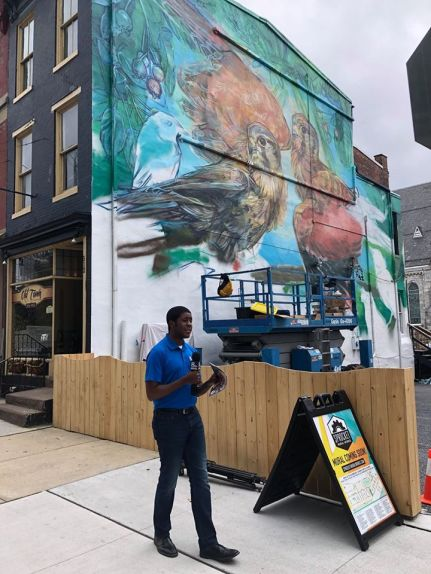 Organizing PR for Sprocket Mural Works' Harrisburg Mural Festival, coverage by Jeremy Jenkins, WGAL